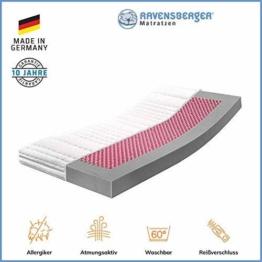 RAVENSBERGER Kinderbett HR-Kaltschaummatratze 70 x 140 cm | Antimon FREI - Silber FREI - ohne optische Aufheller | Baumwoll-Doppeltuch-Bezug - 1