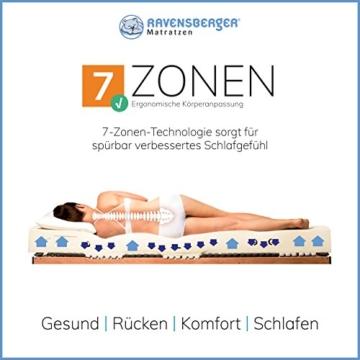 Ravensberger Matratzen Natur-Latex 7-Zonen-Premium-Latexmatratze | H2 RG 75 (45-80 kg) | Made IN Germany | LATEXCO®-Stiftlatex mit 85% Naturkautschuk | Baumwoll-Doppeltuch-Bezug | 90 x 200 cm - 5