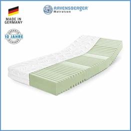 RAVENSBERGER Orthopädische | 7-Zonen-HYBRID-Kaltschaumkomfortmatratze | RG 40 Härtegrad 2 (45-80Kg) | Made IN Germany - 10 Jahre GARANTIE | MEDICORE silverline®-Bezug | 90 x 200 cm - 1