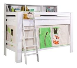 Relita BE3181117-B90+TX5042074 Etagenbett Jan mit Bücherregal Buche massiv weiß lackiert Textilset Liegefläche 90 x 200 cm, 208 x 140/170 x 140 cm, Dschungel - 1