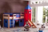 Relita BH1011114+TX5012010+TX5032010 Halbhohes Spielbett Alex mit Rutsche/Turm, Maße 210 x 113 x 220 cm, Liegefläche 90 x 200 cm, Buche massiv Natur lackiert, Stoffset blau/rot - 1