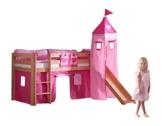 Relita BH1011114+TX5012032+TX5032022-M1 Halbhohes Spielbett Alex mit Rutsche/Turm, Maße 210 x 113 x 220 cm, Liegefläche 90 x 200 cm, Buche massiv Natur lackiert, Stoffset rosa/Herz - 1