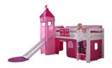 Relita BH1011117+TX5012032+TX5032022-M1 Halbhohes Spielbett Alex mit Rutsche/Turm, Maße 210 x 113 x 220 cm, Liegefläche 90 x 200 cm, Buche massiv weiß lackiert, Stoffset rosa/Herz - 1