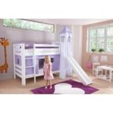 Relita Etagenbett Bel, Buche massiv, weiß lackiert mit Rutsche + Stoffset lila-weiß - 1