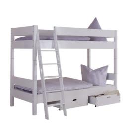 Relita Etagenbett Stefan, Massivholz, weiß lackiert mit Schubladen, weiß - 1