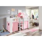 Relita Halbhohes Kinderbett in weiß Nachbildung ● inkl. Leiter und Textilset ● Spielbett mit 90x200cm Liegefläche - 1
