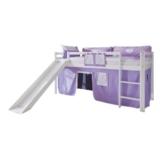 Relita Hochbett Toby Massivholz weiß, Rutsche + Stoffset purp/weiß purple/weiß - 1