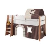 Relita Spielbett Sam, mit Vorhang und 1-er Tunnel Buche, Bi-Color lackiert, Stoff braun/beige - 1