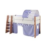 Relita Spielbett Sam, mit Vorhang und 1-er Tunnel Buche, Bi-Color lackiert, Stoff hellblau/weiß - 1