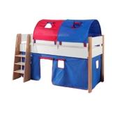 Relita Spielbett Sam, mit Vorhang und 2-er Tunnel Buche, Bi-Color lackiert, Stoff blau/rot - 1