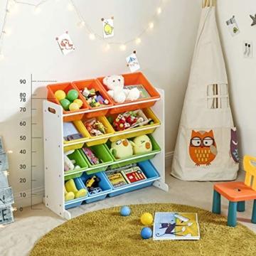 SONGMICS Kinderregal, Kinderzimmerregal, Spielzeugregal, Spielzeugaufbewahrung für Kinder, Aufbewahrungsregal für Spielzeug, Ordnungsregal mit Aufbewahrungsboxen, mehrfarbig GKR04W - 2