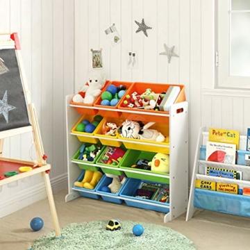 SONGMICS Kinderregal, Kinderzimmerregal, Spielzeugregal, Spielzeugaufbewahrung für Kinder, Aufbewahrungsregal für Spielzeug, Ordnungsregal mit Aufbewahrungsboxen, mehrfarbig GKR04W - 3