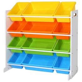 SONGMICS Kinderregal, Kinderzimmerregal, Spielzeugregal, Spielzeugaufbewahrung für Kinder, Aufbewahrungsregal für Spielzeug, Ordnungsregal mit Aufbewahrungsboxen, mehrfarbig GKR04W - 1