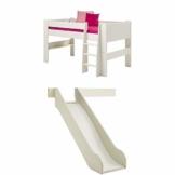 Steens For Kids Kinderbett, Halbhochbett, inkl. Rutsche, Absturzsicherung und Leiter, Liegefläche 90 x 200 cm, MDF, weiß - 1