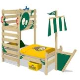 WICKEY Abenteuer-Bett CrAzY Bounty Kinderbett 90x200 Spielbett für Kinder mit Lattenboden, Spielpodest und Schiffanbau, grün - 1