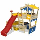 WICKEY Etagenbett CrAzY Castle Doppel-Kinderbett 90x200 Hochbett mit Rutsche, Treppe, Dach und Lattenboden, blau-gelb + rote Rutsche - 1