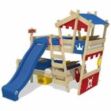 WICKEY Etagenbett CrAzY Castle Doppel-Kinderbett 90x200 Hochbett mit Rutsche, Treppe, Dach und Lattenboden, rot-blau + blaue Rutsche - 1