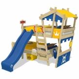 WICKEY Etagenbett CrAzY Castle Doppel-Kinderbett 90x200 Hochbett mit Rutsche, Treppe, Dach und Lattenboden, blau-gelb + blaue Rutsche - 1