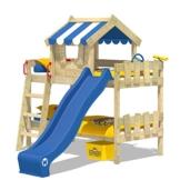 WICKEY Etagenbett CrAzY Circus Kinderbett Hochbett mit Rutsche, Dach und Lattenboden, blaue Plane + blaue Rutsche, 90x200 cm - 1