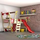 WICKEY Hochbett mit Rutsche CrAzY Smoky Kinderbett 90 x 200 Spielbett Kinder mit Lattenboden und viel Zubehör, Feuerwehrbett, rote Plane + rote Rutsche - 1