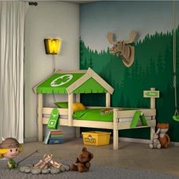 WICKEY Kinderbett CrAzY Buddy Einzelbett 90x200 Abenteuerbett mit Dach und Lattenboden, apfelgrün - 1