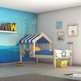 WICKEY Kinderbett CrAzY Sharky Einzelbett 90x200cm Abenteuerbett mit Lattenboden, blau - 1