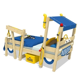 WICKEY Kinderbett 'CrAzY Sparky Max' im Polizei-Look - Einzelbett aus Massivholz - 90x200 cm - 1