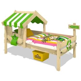 WICKEY Kinderbett CrAzY Sunny Holzbett Einzelbett 90x200 mit Dach und Lattenboden, apfelgrün - 1
