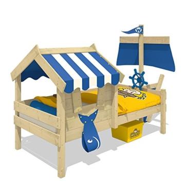 WICKEY Kinderbett mit Dach CrAzY Finny Spielbett mit Schiffanbau und Segel Abenteuerbett mit Lattenboden, blau, 90x200 cm - 2