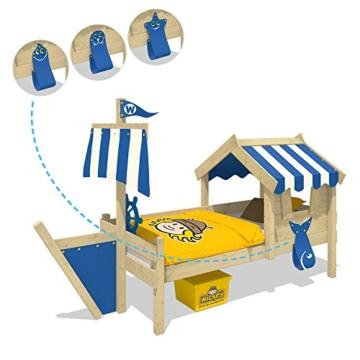 WICKEY Kinderbett mit Dach CrAzY Finny Spielbett mit Schiffanbau und Segel Abenteuerbett mit Lattenboden, blau, 90x200 cm - 3