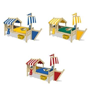 WICKEY Kinderbett mit Dach CrAzY Finny Spielbett mit Schiffanbau und Segel Abenteuerbett mit Lattenboden, blau, 90x200 cm - 4