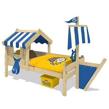 WICKEY Kinderbett mit Dach CrAzY Finny Spielbett mit Schiffanbau und Segel Abenteuerbett mit Lattenboden, blau, 90x200 cm - 1