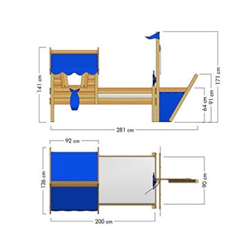 WICKEY Kinderbett mit Dach CrAzY Finny Spielbett mit Schiffanbau und Segel Abenteuerbett mit Lattenboden, blau, 90x200 cm - 6