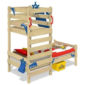 WICKEY Spielbett CrAzY Octopus Kinderbett 90x200 Einzelbett aus Holz mit Spielpodest für Jungen und Mädchen mit Lattenboden, grün - 2
