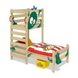 WICKEY Spielbett CrAzY Octopus Kinderbett 90x200 Einzelbett aus Holz mit Spielpodest für Jungen und Mädchen mit Lattenboden, grün - 1
