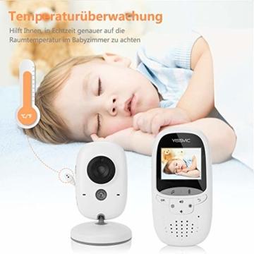 Yissvic Babyphone 2.4GHz mit Kamera Wireless Video Baby Monitor Nachtsicht Gegensprechfunktion Temperatursensor 2.0 Zoll LCD (Verpackung MEHRWEG) - 3