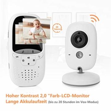 Yissvic Babyphone 2.4GHz mit Kamera Wireless Video Baby Monitor Nachtsicht Gegensprechfunktion Temperatursensor 2.0 Zoll LCD (Verpackung MEHRWEG) - 4