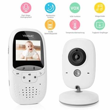 Yissvic Babyphone 2.4GHz mit Kamera Wireless Video Baby Monitor Nachtsicht Gegensprechfunktion Temperatursensor 2.0 Zoll LCD (Verpackung MEHRWEG) - 1