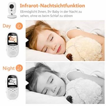Yissvic Babyphone 2.4GHz mit Kamera Wireless Video Baby Monitor Nachtsicht Gegensprechfunktion Temperatursensor 2.0 Zoll LCD (Verpackung MEHRWEG) - 6