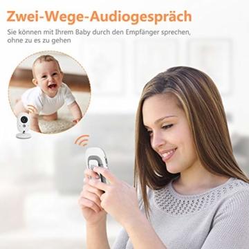 Yissvic Babyphone 2.4GHz mit Kamera Wireless Video Baby Monitor Nachtsicht Gegensprechfunktion Temperatursensor 2.0 Zoll LCD (Verpackung MEHRWEG) - 7