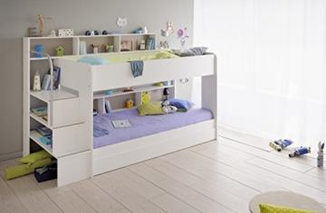90x200 Kinder Etagenbett Weiß/grau mit Bettkasten Treppe und Geländer - 3