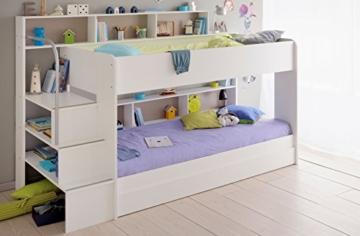 90x200 Kinder Etagenbett Weiß/grau mit Bettkasten Treppe und Geländer - 6