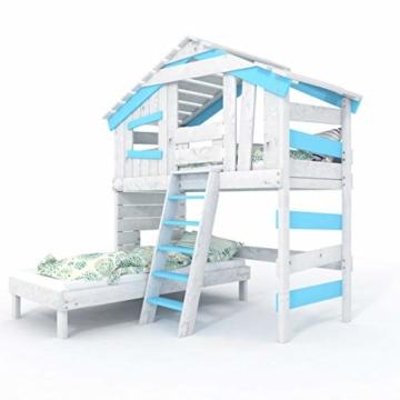 BIBEX Jugend- und Kinderbett, Doppelbett, Etagenbett, Spielhaus in zartem Creme-weiß/Himmel-blau (mit Unterbett, mit Tür) - 2