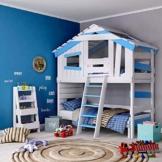 BIBEX Jugend- und Kinderbett, Doppelbett, Etagenbett, Spielhaus in zartem Creme-weiß/Himmel-blau (mit Unterbett, mit Tür) - 1
