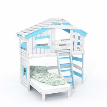 BIBEX Jugend- und Kinderbett, Doppelbett, Etagenbett, Spielhaus in zartem Creme-weiß/Himmel-blau (mit Unterbett, mit Tür) - 3