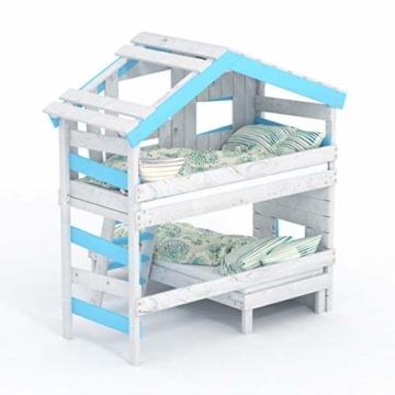 BIBEX Jugend- und Kinderbett, Doppelbett, Etagenbett, Spielhaus in zartem Creme-weiß/Himmel-blau (mit Unterbett, mit Tür) - 4