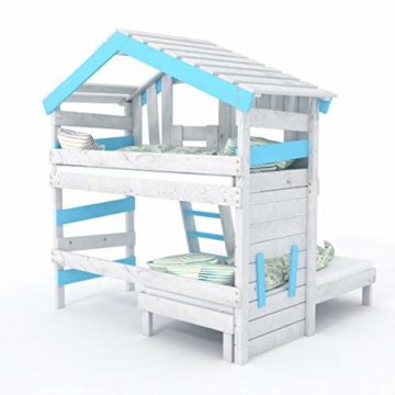 BIBEX Jugend- und Kinderbett, Doppelbett, Etagenbett, Spielhaus in zartem Creme-weiß/Himmel-blau (mit Unterbett, mit Tür) - 5