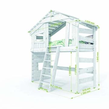BIBEX Jugend- und Kinderbett, Doppelbett, Etagenbett, Spielhaus in zartem Creme-weiß/Himmel-blau (mit Unterbett, mit Tür) - 6