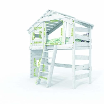 BIBEX Jugend- und Kinderbett, Doppelbett, Etagenbett, Spielhaus in zartem Creme-weiß/Himmel-blau (mit Unterbett, mit Tür) - 7