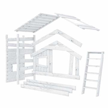 BIBEX Jugend- und Kinderbett, Doppelbett, Etagenbett, Spielhaus in zartem Creme-weiß/Himmel-blau (mit Unterbett, mit Tür) - 8